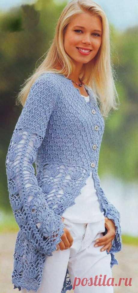 Жакет крючком - запись пользователя Marmeladka (Модератор) в сообществе Вязание крючком в категории Женская одежда крючком. Схемы и описание