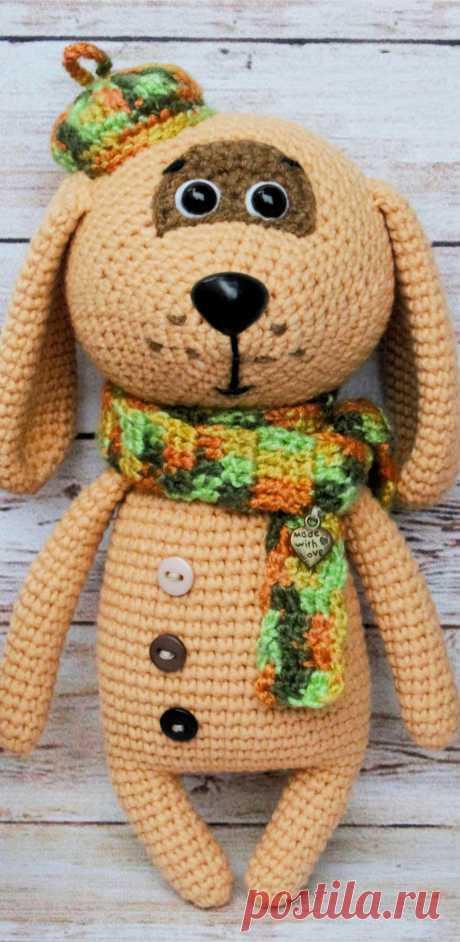 PDF Собачка в берете крючком. FREE crochet pattern; Аmigurumi doll patterns. Амигуруми схемы и описания на русском. Вязаные игрушки и поделки своими руками  #amimore - Собака, пёс, собачка, щенок, пёсик.