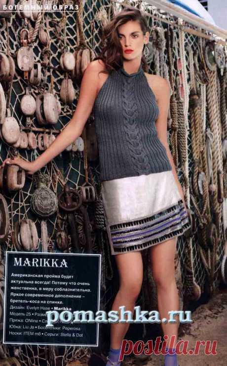 Топ спицами с американской проймой «Marikka» | Ромашка - Вязание для всех