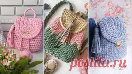 Вяжем очаровательные и удобные рюкзаки из трикотажной пряжи крючком – В РИТМІ ЖИТТЯ