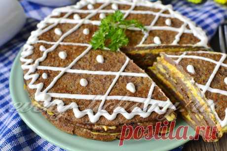 Печеночный торт из свиной печени.
