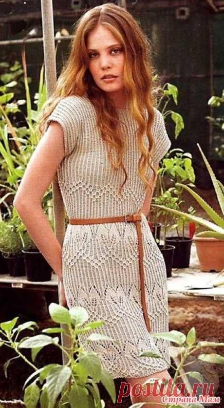 Платье цвета Оливы. Лён. Спицы - Вязание - Страна Мам