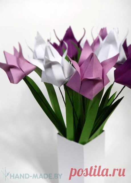 Тюльпан в технике оригами