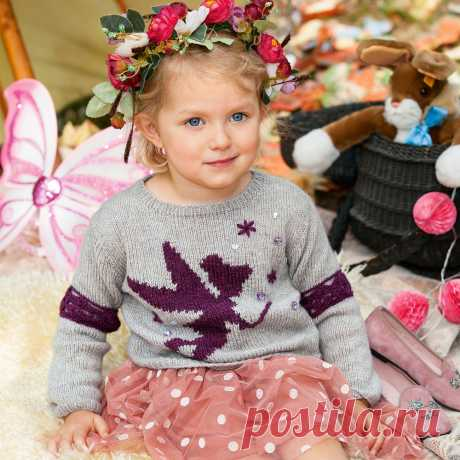 """Children's jumper with motive \""""Fairy\"""" - the scheme of knitting by spokes"""
