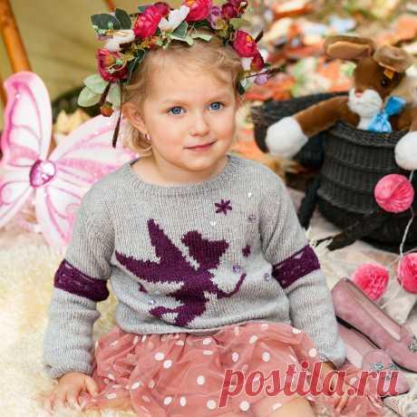 Детский джемпер с мотивом «Фея» - схема вязания спицами