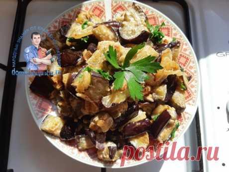 Баклажаны в сметане как грибы  Баклажаны - примерно 700 гр-1 кг. 1-2 луковицы 2-3 зубчика чеснока 200 гр сметаны Соль, перец, Зелень - горсть
