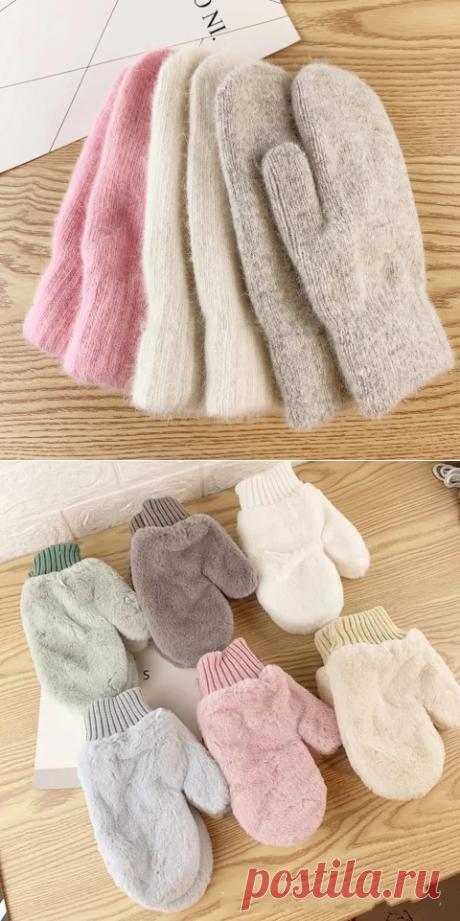 Двухслойные перчатки из кроличьей шерсти , женские зимние корейские однотонные перчатки на все пальцы, зимние женские перчатки , варежки для девочек | Женские перчатки
