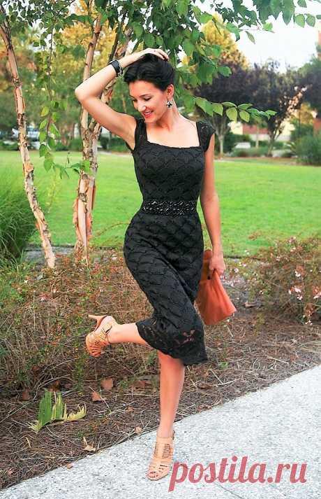 Стильное вязаное платье спицами | Вяжем с Лана Ви