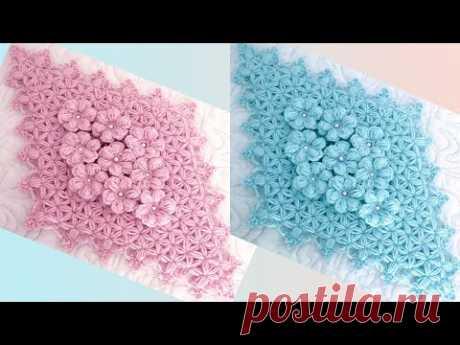 Centro de mesa a Crochet diamante rosa Punto jardín de flores 3D tejido con ganchillo