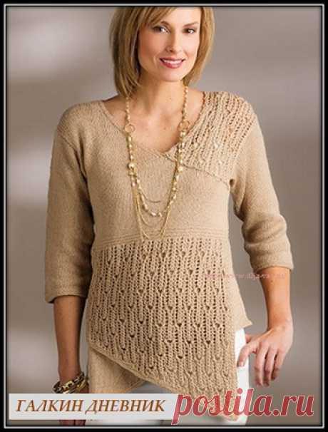 ГАЛКИН ДНЕВНИК - блог о вязании: Пуловер спицами с асимметричной полочкой