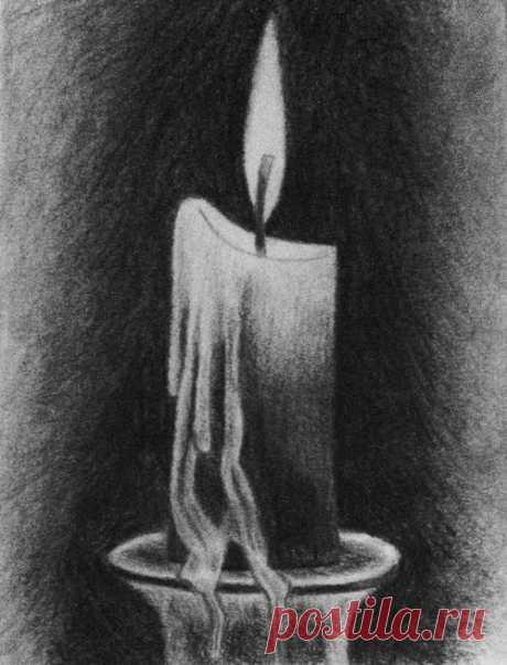 Рисуем свечу углем — DIYIdeas