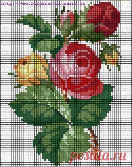Простая вышивка красивых цветов