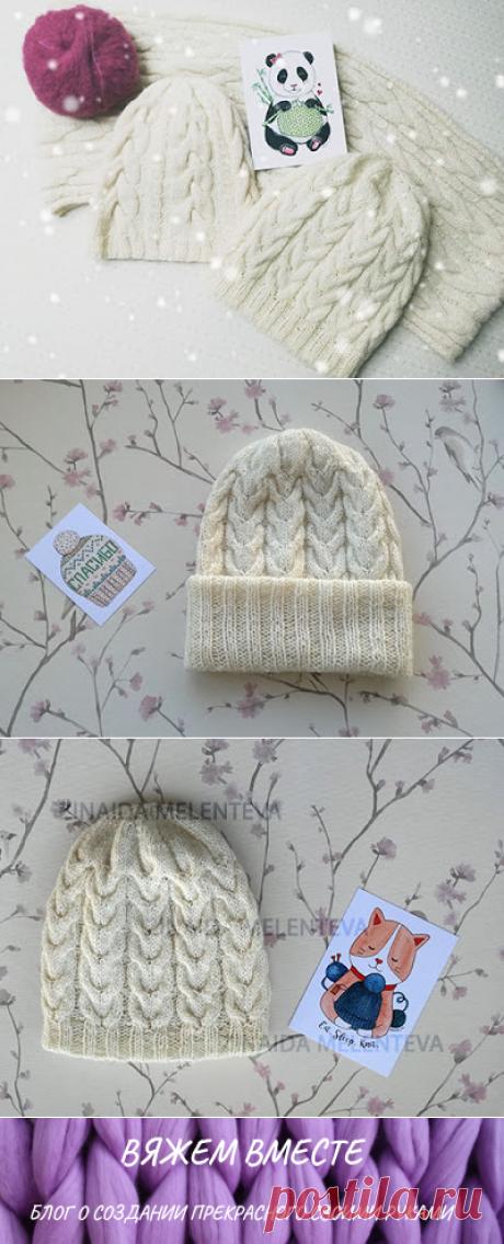 1000 идей для вязания спицами: Шапочка c косами от макушки