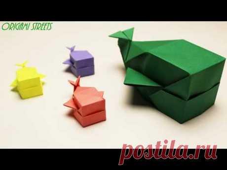 Оригами кит из бумаги - коробка в виде кита