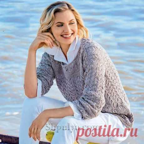 Серый пуловер ажурными узорами — Shpulya.com - схемы с описанием для вязания спицами и крючком