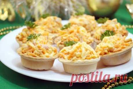 Салат в тарталетках «Новогодний сувенир» Салат и закуска в одной маленькой корзинке для вашего новогоднего стола.
