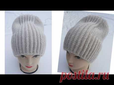 Супер красива шапочка поперечним способом в'язання. Модна верхівка.Вкорочені ряди.