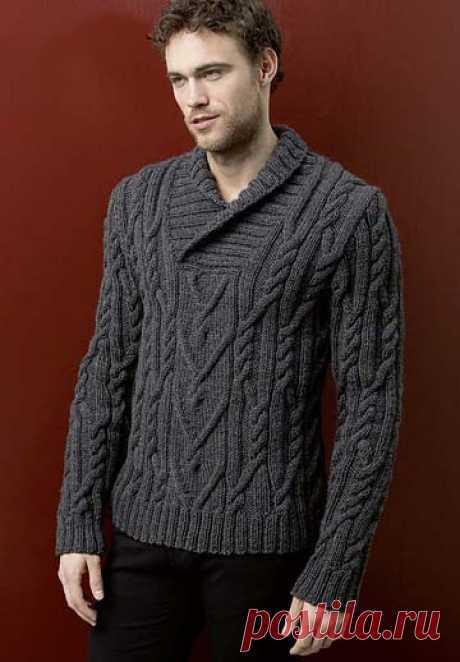 Мужской пуловер спицами с воротником - поло