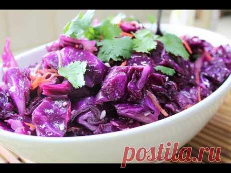 Корейский салат из краснокочанной капусты