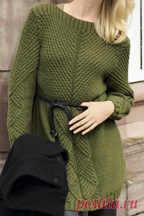 Схема темно-зеленого платье, вязание на спицах