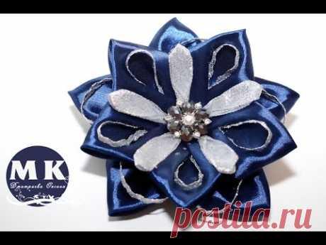 Канзаши мастер-класс.Цветы из лент.Бант Канзаши.Резинка для волос/Use it to tie back hair star - YouTube