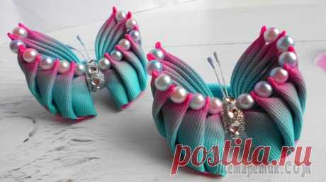 Бантики-бабочки Украшения канзаши порой удивляют многообразием форм и сочетанием всевозможных оттенков.Канзаши бабочка. Украшение волос – это так присуще женщинам.Очень популярными считаются аксессуары в виде символа...