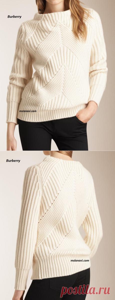 Вязаный свитер спицами от Burberry   Вяжем с Лана Ви
