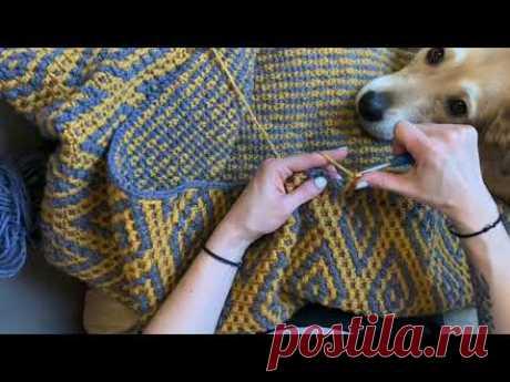 Самый нескучный в мире плед: мозаичное вязание крючком.