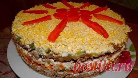(+1) - Вкуснейший слоёный печёночный салат! | Любимые рецепты