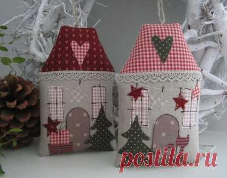 Los juguetes suaves para adornamiento de la casa. Las casitas \/ la Tilde, los juguetes suaves por las manos, el patrón \/ KluKlu. La costura - biseropletenie, kvilling, el bordado por la cruz, la labor de punto