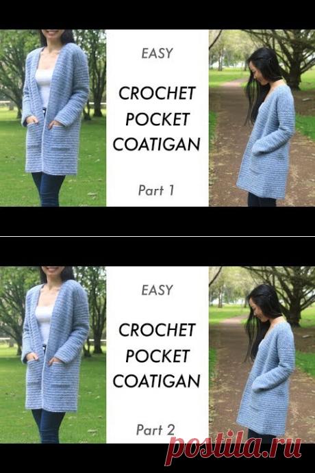 Crochet Pocket Cardigan Coat - Stonewash Coatigan Easy Tutorial - Part 1 - YouTube