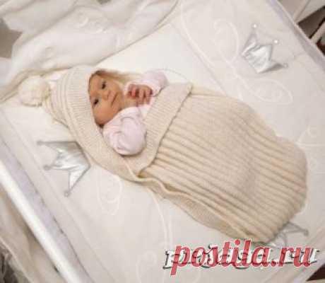 Конверт спицами новорожденным