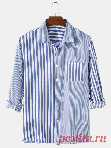 Mens Patchwork Striped Print Cotton Lapel Casual Fit Long Sleeve Shirts With Poc - US$22.99