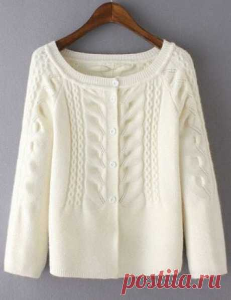 White Cabel Knit Button Front Sweater Shop White Cabel Knit Button Front Sweater online. SheIn offers White Cabel Knit Button Front Sweater & more to fit your fashionable needs.