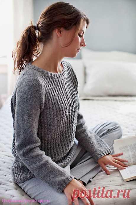 Рельефный пуловер-реглан Bedford от Michele Wang спицами – выкройка и пошаговое описание вязания