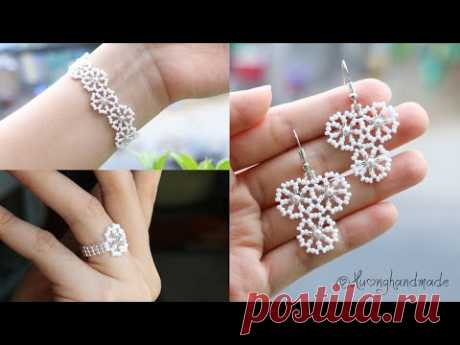Pure white wedding jewelry set. Earrings, bracelet and ring. How to make beaded jewelry