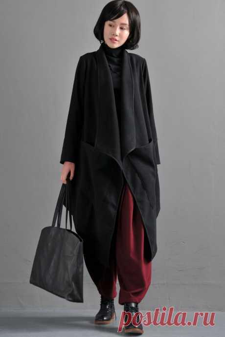 Black Woolen Coat-Irregular Woman Shawl Woolen Coat | Etsy