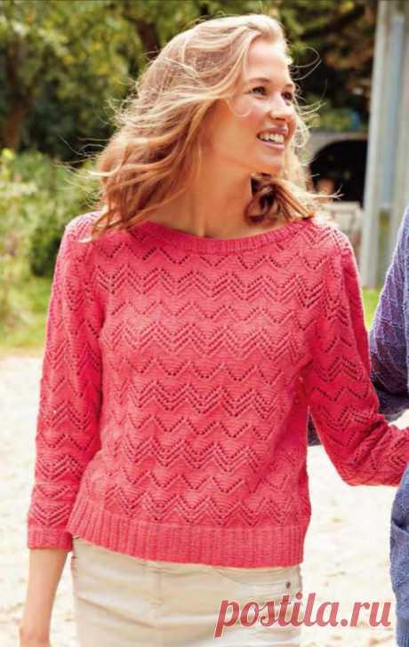 """Коралловый пуловер из хлопка спицами Очень красивая модель из журнала """"Вязание"""" - пуловер из хлопка спицами связанный, с рукавами три четверти, треугольным вырезом на спине и нежным ажурным узором."""