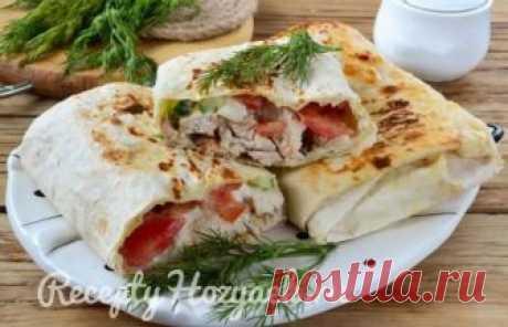 Шаверма с пикантной курочкой и чесночным соусом - кулинарный рецепт