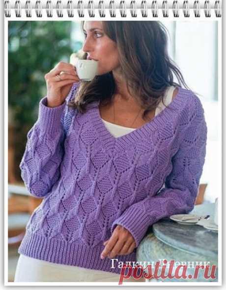 ГАЛКИН ДНЕВНИК : Пуловер спицами для женщин с рельефным узором