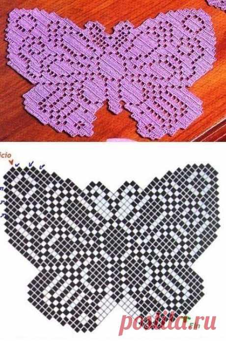 Необычная салфетка в виде бабочки из категории Интересные идеи – Вязаные идеи, идеи для вязания