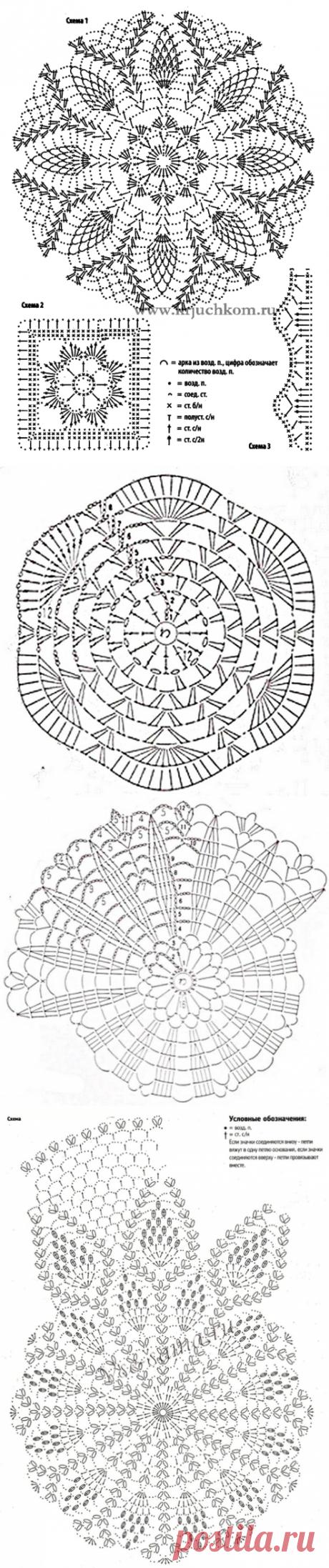 схемы для ажурных шапочек крючком(донышки) - Самое интересное в блогах