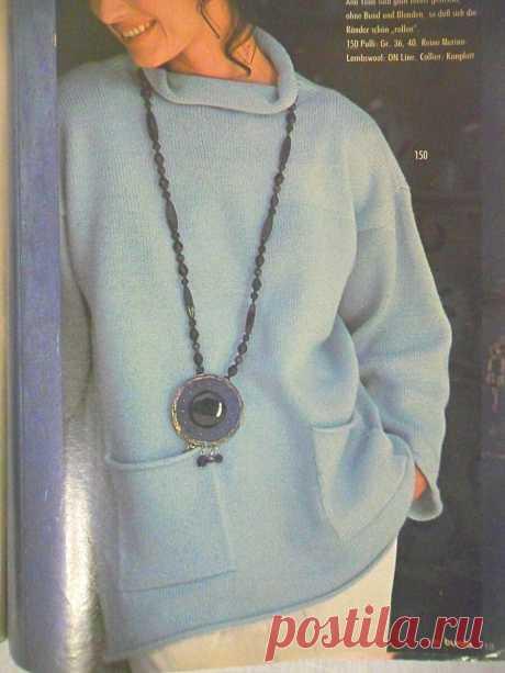 Вяжем очень красивый небесно-голубой джемпер из журнала 1994 года. | Вяжу для души | Яндекс Дзен