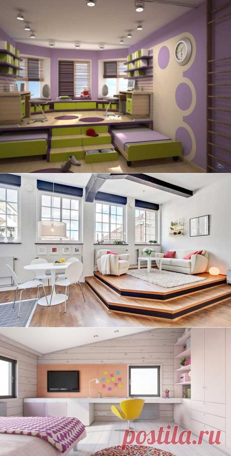 Подиум в квартире: интересные идеи . Для небольшой по площади квартиры может стать интересной идеей создание подиума.  Ведь подиум – не просто красивое дизайнерское решение, но и весьма функциональное.  Представляет он собой небольшое возвышение, еоторое можно разместить и в спальне, и в детской, и в гостиной.