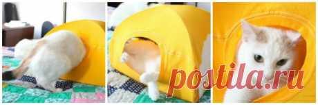 Домик для кота из футболки за 10 минут — Рукоделие