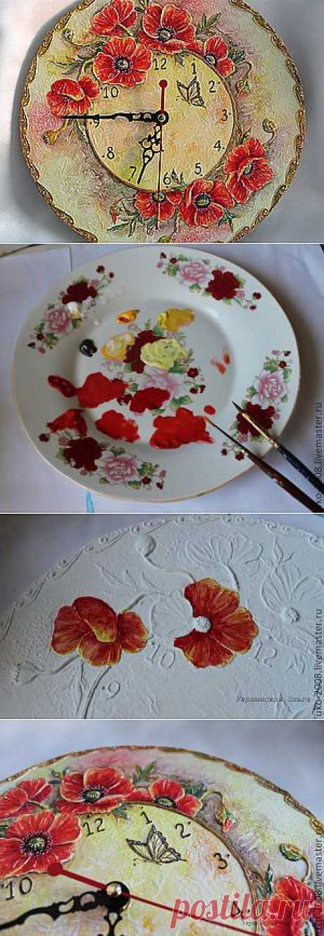 Часы с объемными цветами