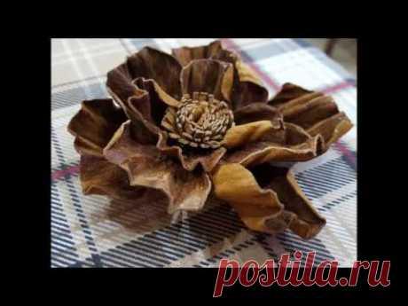Кожаный цветок из старых перчаток.