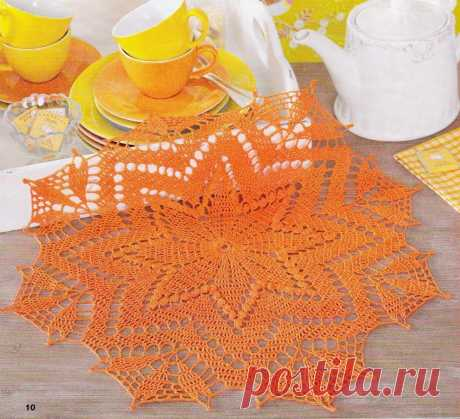 Круглая салфетка крючком. Схема. / knittingideas.ru