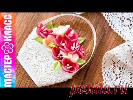 Flowers basket a magnet the Kanzasha \/ Gift for March 8 ✄ Kulikova Anastasia