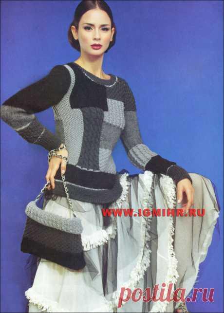 Элегантный пуловер и сумочка, выполненные в технике пэчворк, от итальянских дизайнеров. Спицы